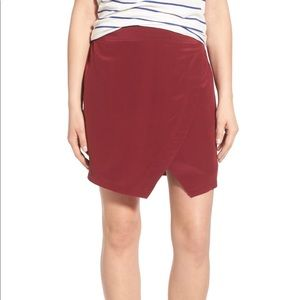 Madewell silk parkway wrap mini skirt XS